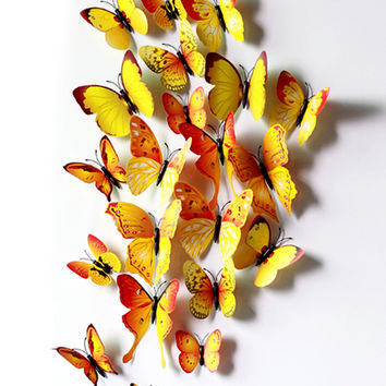 Green Yellow 12 PCS Three Dimensional Butterfly Clip Curtain Decoration