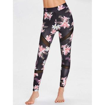 Floral Print Mesh Panel Sports Leggings - Floral