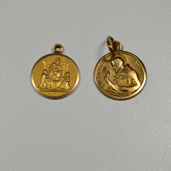 Lovely Vintage 750 18k Gold Religious Medals from Crazy Aunt Designs BW08