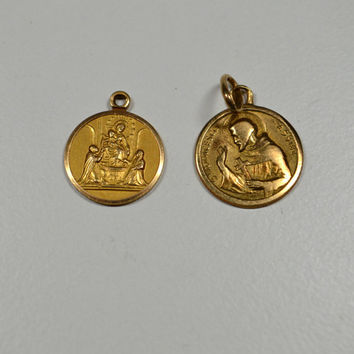 Vintage 750 18k Gold Religious Medals Italian 2.8 g Signed 750 Italian Gold Jewelry Lot of Two Medals Ave Maria St. Francesco Assisi