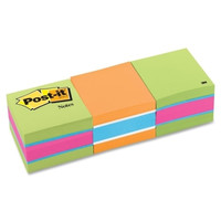 "3m commercial office supply div. post-it note cube,400 sheets per cube,2""x2"",3/pk,neon stripe Case of 3"