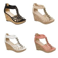 NEW Women High Heel Sexy Wedge Stone Sandal Open Toe Platform Fashion Pump Shoes