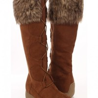 Rust Faux Suede Round Toe Lace Up Fur Boots