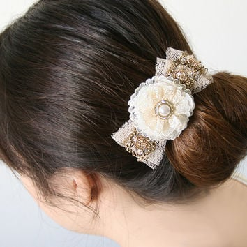 Sparkling Hair Flower Clip - Pearl and Rhinestone with Gold Sequin Vintage Tulle Trim