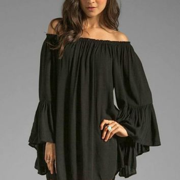 Boho Style Mini Dress - Black