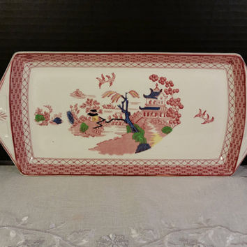 Woods Burslem England Hankow Tray Vintage Asian Oriental Tray Pink Blue Green Hand Painted Tray Blue Willow Pink transferware Tray Handles