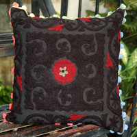 Indian Pillow Covers Suzani Handmade Embroidered Indian Pillows Christmas Gift Decorative Black Pillow Case Ethnic Traditional Look Artwork
