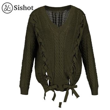 Women casual knitwear autumn green plain sexy v neck sweater loose long sleeve fashion lace up fall casual pullovers