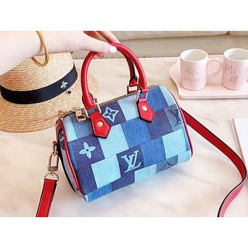 LV fashion ladies printed checked patchwork color shoulder bag