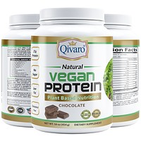 QVP02A- NATURAL VEGAN PROTEIN - PLANT BASED NUTRITION By QIVARO -NATURAL CHOCOLATE  454g