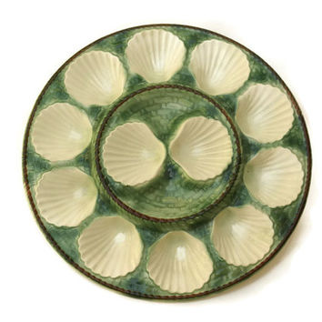 French Oyster Platter. Green Majolica Scallop Plate.