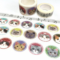 cute cat washi tape 5M x 2cm cat drawing cat icon cat pattern street cat decor masking sticker tape cat themed cat party gift wrapping tape