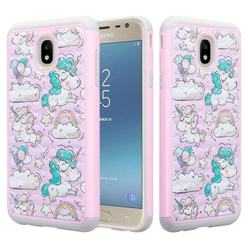 Samsung Galaxy J7 V 2nd Gen, J7 2018, J7 Star, J7 Refine, J7 Aero, J7 Aura, J7 Eon, J7 Pro SM-J730GM/DS, J7 Top, J7 Crown Case, Slim Crystal Rhinestone Dual Layer [Shock Resistant] Protective Cover - Pink Unicorn