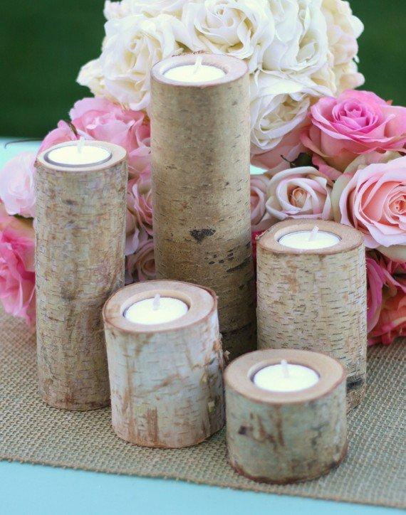 Birch candles centerpiece votive tea from braggingbags on etsy