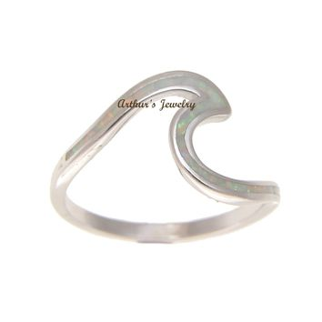 925 Sterling Silver Hawaiian Ocean Wave Shape White Opal Ring Size 5-10