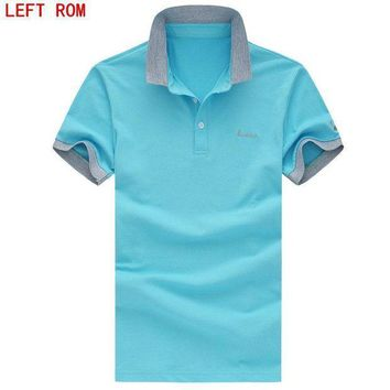 ESBON Brand clothing New Men's Letter Priting Polo Shirt Business & Casual Solid polo shirt Short Sleeve breathable Cotton  polo shirt