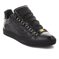 Balenciaga Women's Arena Leather Sneaker Shoes Black