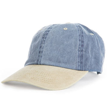 The 2 Tone Acid Wash Dad Hat in Blue & Khaki
