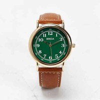 Breda 1682 Classic Green Face Watch- Gold One