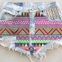 ANY COLOR Aztec Fabric Ripped Frayed Denim High-Waisted Shorts