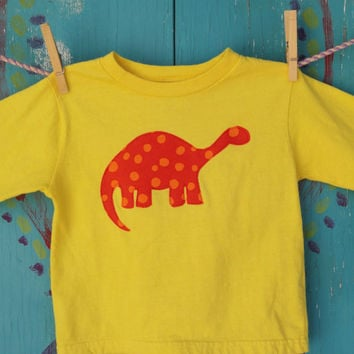 Children's Dinosaur Appliqued Tshirt Handdyed by OddEDesigns
