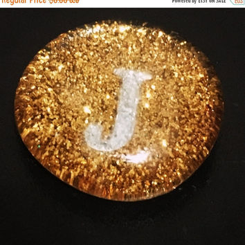 "On Sale Gold Sparkle Initial ""J"" Magnet/Pin - Customize-able Initial Pin/Magnet"