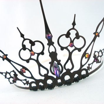 Purple Gothique - Black Filigree Gothic Tiara - Made to Order