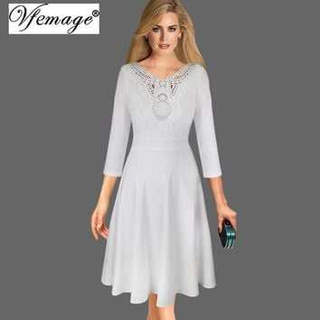 Vfemage Womens Elegant 3/4 Sleeve Applique Embroidery Crochet Swing Party Evening Skater A-Line Dress 8200