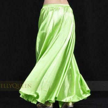 VONG2W 1pcs/lot  new style women sexy Shining Satin Long Skirt Swing Skirt dancing lady Belly Dance Costume 14 color