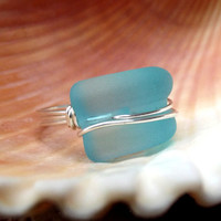 Seaglass Statement Ring:  Silver Wire Wrapped, Turquoise Sky Blue Curved Bottle Lip Beach Jewelry, Size 7