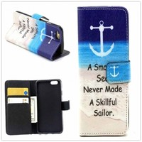 Hight Qulity Anchor Print PU Leather Case Cover Wallet for iPhone 6 / iPhone plus