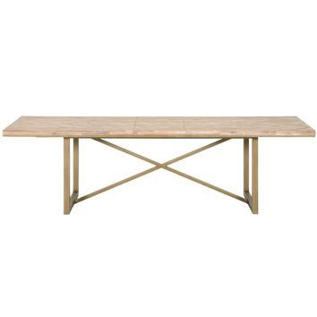 Mosaic Extension Dining Table Stone Wash, Brushed Gold | Acacia Veneer