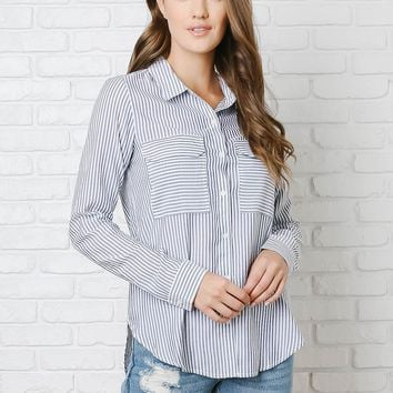 Blue and White Striped Button-Up