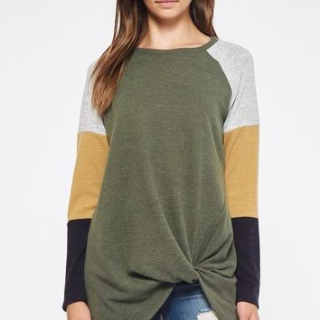Color Block Twist Top - Olive