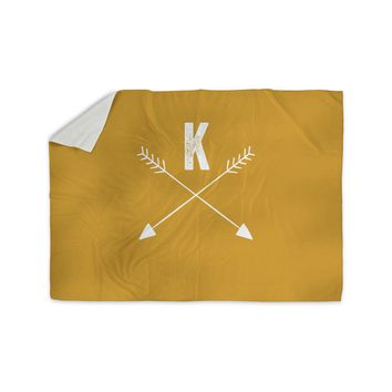 "KESS Original ""Golden Arrow Monogram"" Sherpa Blanket"