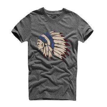 Mens High Quality Classic Style Native American Chief Portrait T Shirt