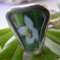 Broken China Ring Chaney Sterling Silver Ring White Flower Any Size 100% Handcrafted