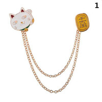 Fashion Cute Egg Cat Moon Rabbit Chain Brooch Badge Pin Jewelry Gift Women Girl Accessories 1PCS New Fashion Collar brooch