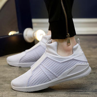 White Designer Mesh Slip On Sneakers