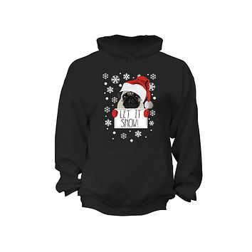 XtraFly Apparel Let It Snow Pug Ugly Christmas Hooded-Sweatshirt Pullover Hoodie