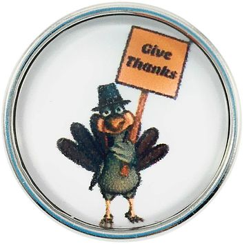 """Snap Charm Turkey with Give Thanks Sign 20mm, 3/4"""" Diameter Standard Size"""