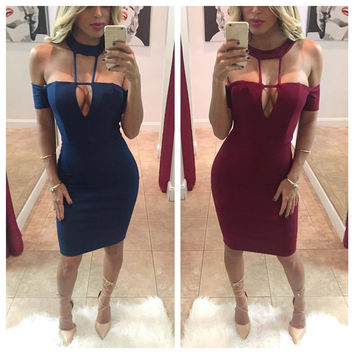 Halter Off-Shoulder Bodycon Dress