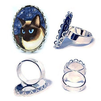 Siamese Cat Ring Seal Point Siamese Cat Silver Ring Fantasy Cat Art Cameo Ring 25x18mm Gift for Cat Lovers Jewelry