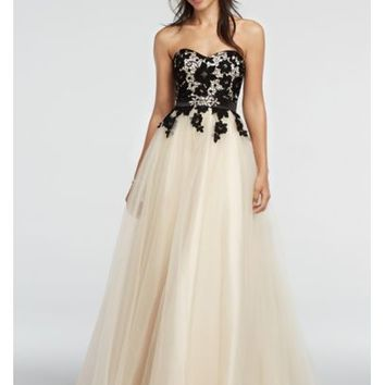Strapless Lace Prom Dress with Tulle Skirt - Davids Bridal