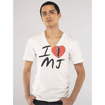 I Heart Michael Jackson V-Neck Shirt by Crooked Monkey
