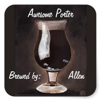 Dark Beer in Tulip Glass Porter Stout Painting Art Square Sticker