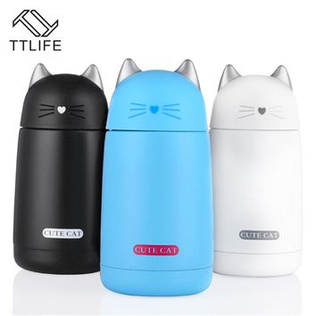 TTLIFE Thermos Cup Cartoon Cat Thermo Mug Kids Water Bottle Stainless Steel Drinkware Child Vacuum Flask Tumbler Leak-proof Cup