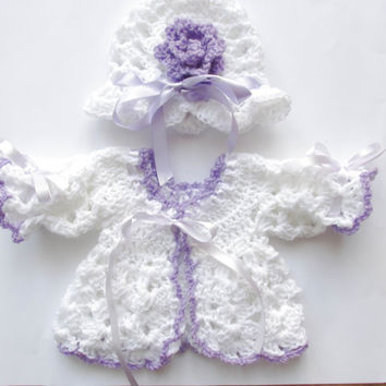 Crochet Baby  cardigan hat   white lilac baby crochet set newborn clothes infant cardigan baby sweater and hat set