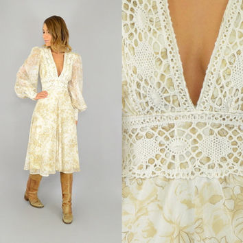 70's Floral GUNNE SAX prairie hippie boho Crochet poet sleeve Midi DRESS, small-medium