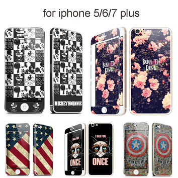 Color Plating Tempered Glass Front+Back Full Body Mirror Glass Case for coque iPhone 6 6S 7 Plus 5 5SE Mickey Mouse Couple Case